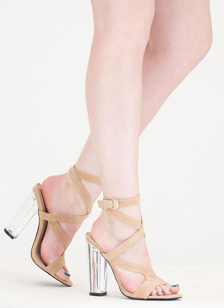 So Transparent Chunky Wraparound Heels