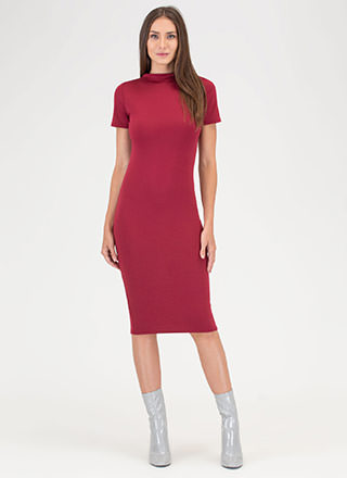 Feeling The High Neck Midi Dress