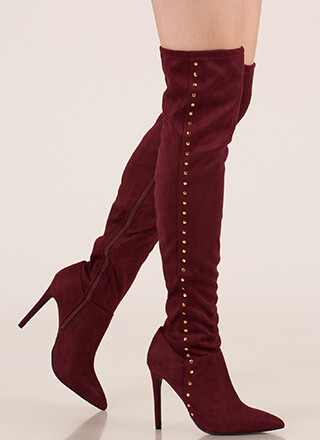 Stud Muffin Pointy Over-The-Knee Boots