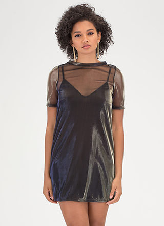Party Perfect Sheer Metallic Tee Dress