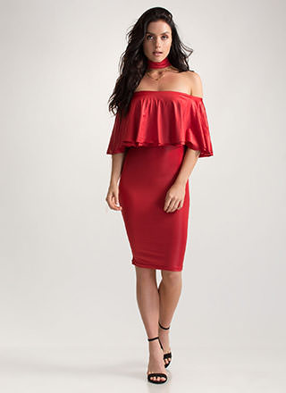 Choker Hold Ruffled Off-Shoulder Dress