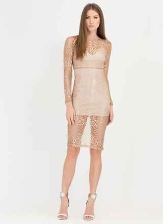 Fleur Sure Metallic Lace Midi Dress
