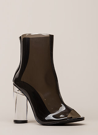 Cylinder Chic Clear Lucite Booties