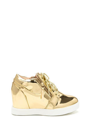So Slick Metallic Wedge Sneakers