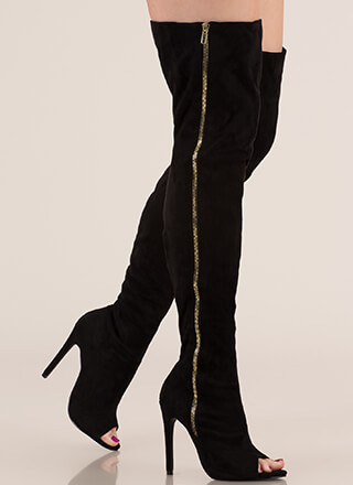 b5bb550d8ae Catwalk Strut Thigh-High Peep-Toe Boots