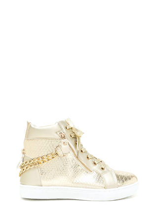 Scale Up Double Chain Metallic Sneakers