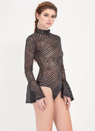 I Sparkle Lacy Bell Sleeve Bodysuit