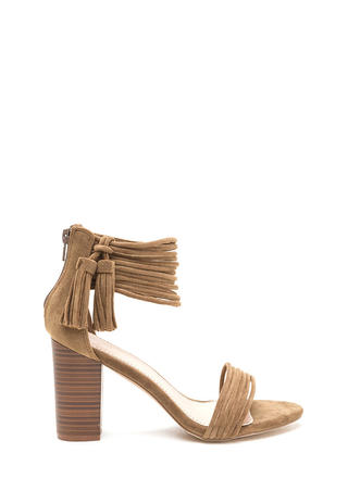 Stacked Strappy Tasseled Chunky Heels