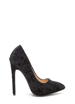 Crushed Competition Velvet Pointy Pumps