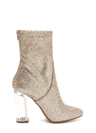 I Sparkle Chunky Lucite Glitter Booties