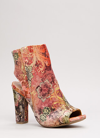 You're Cut Velvet Floral Chunky Heels