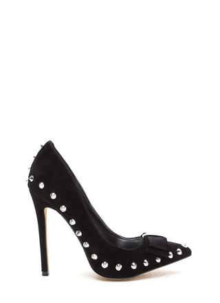 Bow My Goodness Studded Pointy Pumps