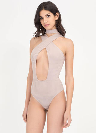 X Sells Paneled Rib Knit Bodysuit