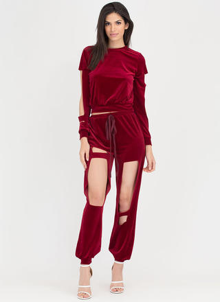 Cut It Out Velvet Top 'N Jogger Set
