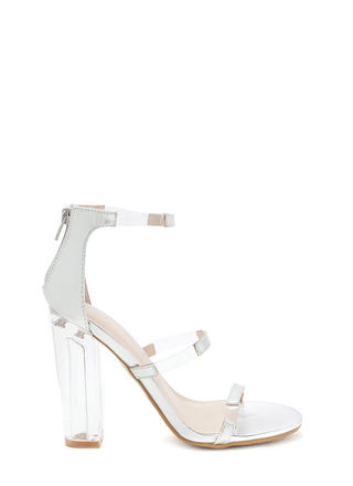 Float On Caged Metallic Clear Heels