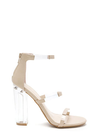 Float On Caged Faux Leather Clear Heels