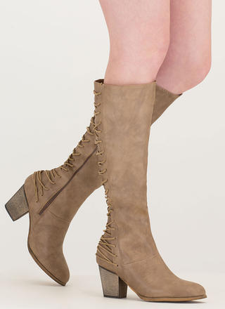 All Day Style Chunky Lace-Back Boots
