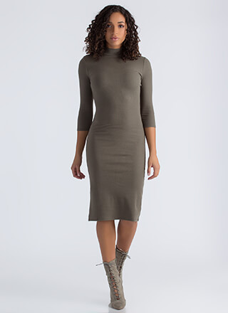 Back To Basics Ribbed Mockneck Dress