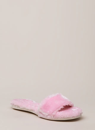 Furry Up Lined Slip-On Sandals