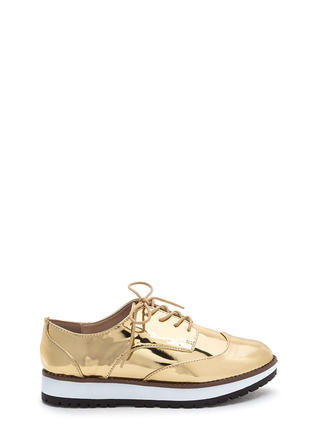 Tomboy Style Metallic Oxford Flats