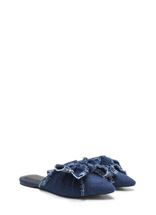 Bow Em Gee Pointy Denim Slipper Flats