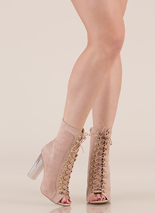 Cylinder Chic Chunky Lucite Booties