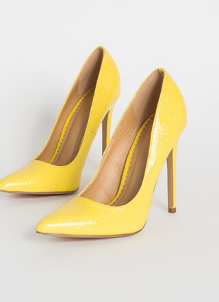 Snake A Look Pointy Faux Patent Pumps