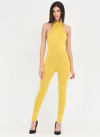 Tied To The Finish Mockneck Jumpsuit
