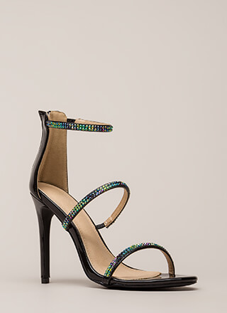 Jewel Thief Strappy Faux Patent Heels