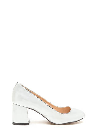Chunky Chic Faux Patent Block Heels
