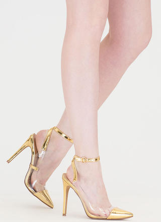 Clear Your Game Pointy Metallic Heels