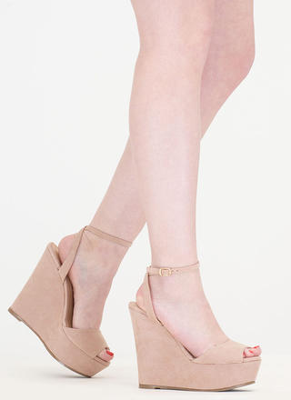 Peep These Faux Suede Platform Wedges