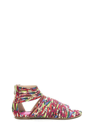 Stacked In Your Favor Rainbow Sandals