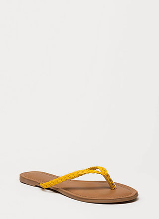 98111cd5c First Braid Faux Leather Thong Sandals