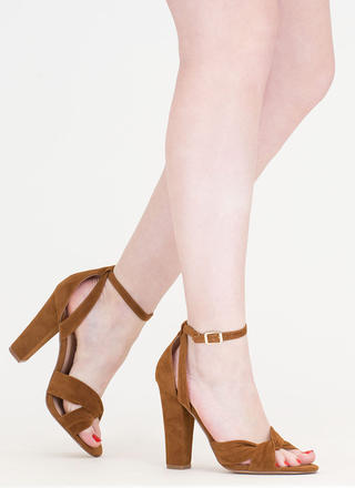 Knotty Idea Chunky Faux Suede Heels