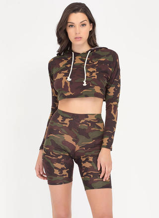 Blend Together Camo Top 'N Shorts Set