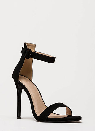 Chic Now Strappy Faux Nubuck Heels