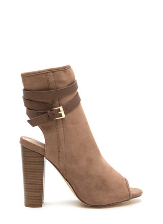 Let's Wrap Chunky Faux Suede Booties