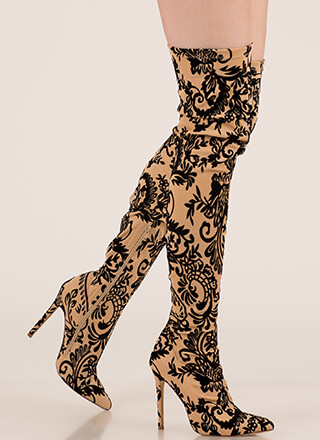 Floral Filigree Flocked Thigh-High Boots