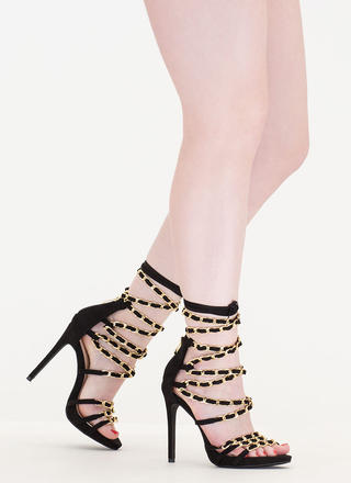 Start A Chain Strap Lace-Up Sandals