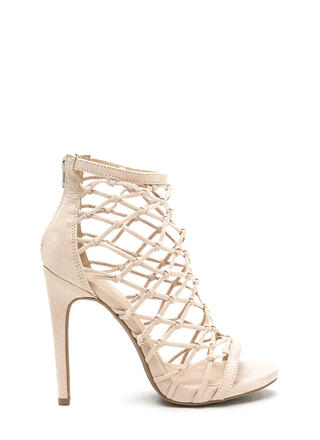 Knotted And Netted Caged Heels