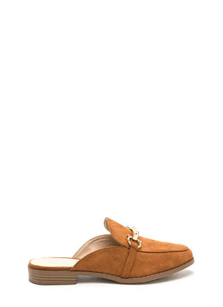 Equestrian Show Faux Suede Mules