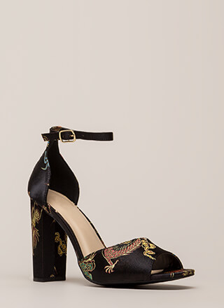 Luxe Chic Chunky Embroidered Satin Heels