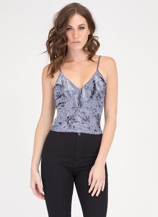 Romantic Air Ruffled Velvet Crop Top