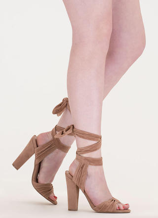 Lace-Up Lady Pleated Velvet Chunky Heels