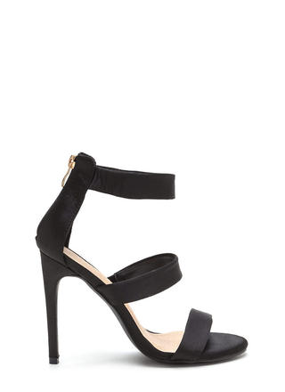 Straight To The Top Strappy Satin Heels