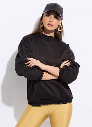 Fashion Crew Distressed Sweatshirt