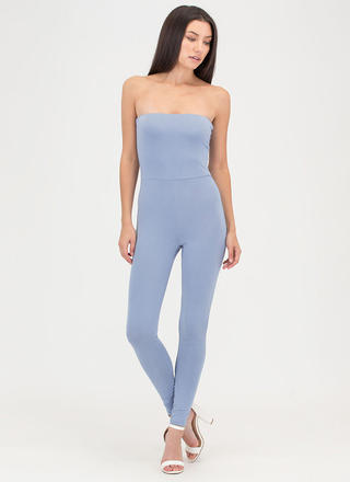 One And Done Cropped Strapless Jumpsuit