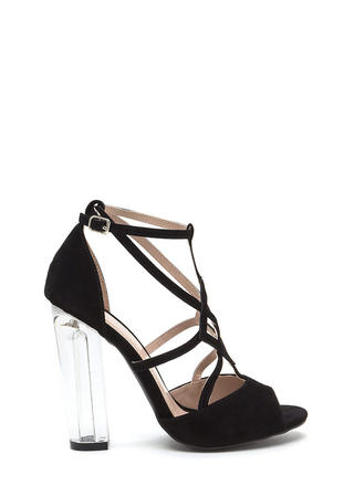 Act Your Cage Faux Suede Clear Heels
