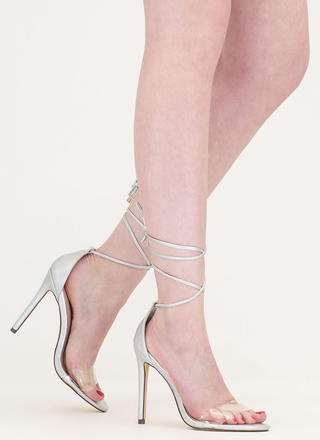 Keep Clear Metallic Faux Leather Heels